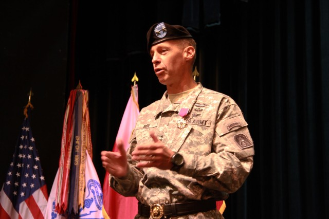 FORT SAM HOUSTON, Texas -- Maj. Gen. William Roy, deputy commanding general, U.S. Army North (Fifth Army), says his final farewells to the Soldiers and civilians of the command July 26 during a tattoo ceremony at the Fort Sam Houston Theater. Roy is leaving Army North to take command of Joint Task Force -- Civil Support.