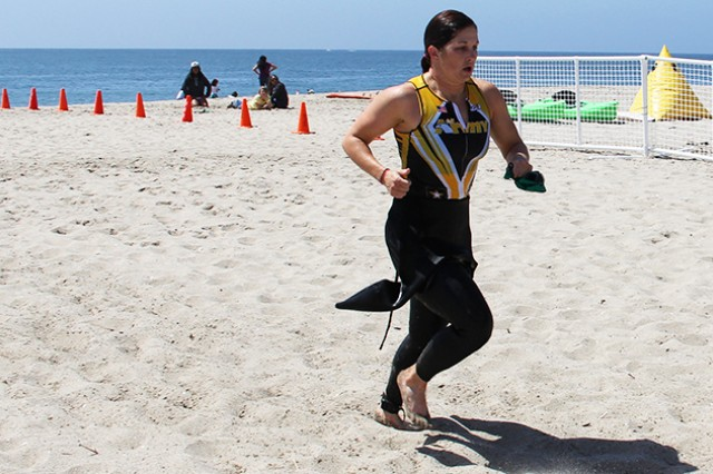 Second Lt. Justine Emge emerges from the water May 31, 2014, during the Armed Forces Triathlon Championship at Naval Base Ventura County, Point Mugu, Calif.