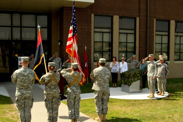 FORT DRUM-- The Color Guard presents colors during a ceremony dedicating a memorial commemorating the Iraq War service of the New York Army National Guard's 42nd Infantry division on June 28, 2004, ten year after the division mobilized in May of 2004.