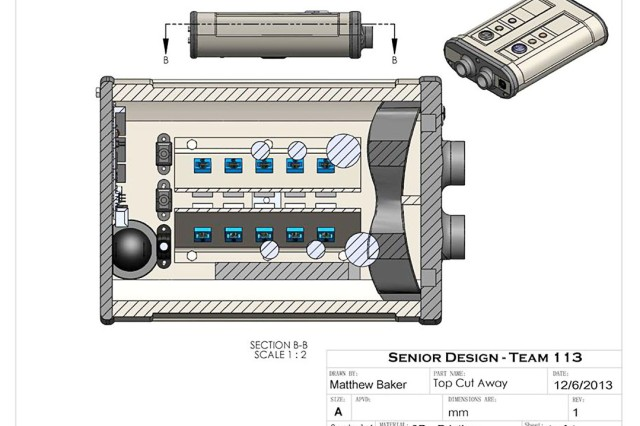 A computer-aided design drawing of the LTLM GUI emulator which, using embedded virtual reality goggles and configurable controls, will enable the PM SPTD product team to model, test and demonstrate key aspects of the user interface, both through development with Soldiers and in communications with industry.
