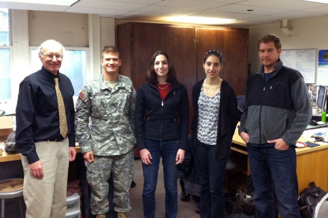 Professor Ken Funk, left, with Maj. Toby Birdsell, Katie Morowsky, Sarah McCrea and Daniel Gilruth of OSU's Department of Mechanical, Industrial, and Manufacturing Engineering Department. Morowsky, McCrea and Gilruth, OSU engineering graduate students, helped assess design and usability during development of the Family of Weapon Sights.