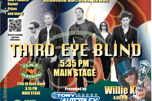 Third Eye Blind is the 2014 headliner for the 4th of July Spectacular at Schofield Barracks, Hawaii.