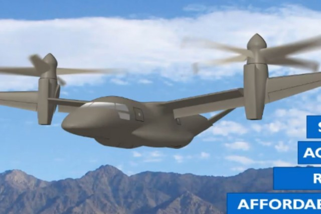 AVX Aircraft Company, Bell Helicopter, Sikorsky-Boeing Team, and Karem Aircraft all promise to build a Future Vertical Lift aircraft that is faster, more agile, can travel father and cost less than today's helicopters. This particular variant is Karem's.