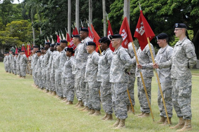 A formation of troops filled Hamilton Field, here, consisting entirely of noncommissioned officers assigned to the 8th Theater Sustainment Command, with each subordinate command represented by their unit colors and a first sergeant or command sergeant major during the 8th TSC's quarterly retirement ceremony, June 27. (Photo by Staff Sgt. Richard Sherba, 8th Military Police Brigade Public Affairs, 8th Theater Sustainment Command)