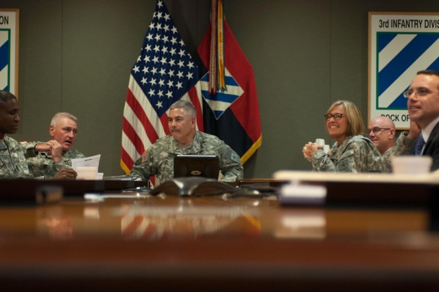 Vice Chief of Staff of the Army Gen. John F. Campbell meets with senior Army and Fort Stewart leaders, July 1, 2014, to discuss the Army's Ready and Resilient Campaign, at Fort Stewart, Ga.