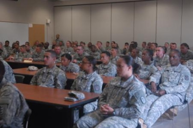 During a Sexual Harassment/Assault Response and Prevention stand down, more than 100 engineer Soldiers from the 130th Engineer Brigade, 8th Theater Sustainment Command, are reminded of the importance of SHARP, June 27, at Schofield Barracks, Hawaii.
