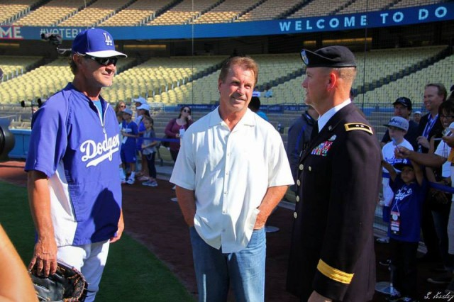 Maj. Gen. Paul Funk speaks with Don Mattingly and Ron Cey (Six-time All-Star, 1981 World Series Champ, and World Series MVP) during his visit to Dodgers Stadium July 1.