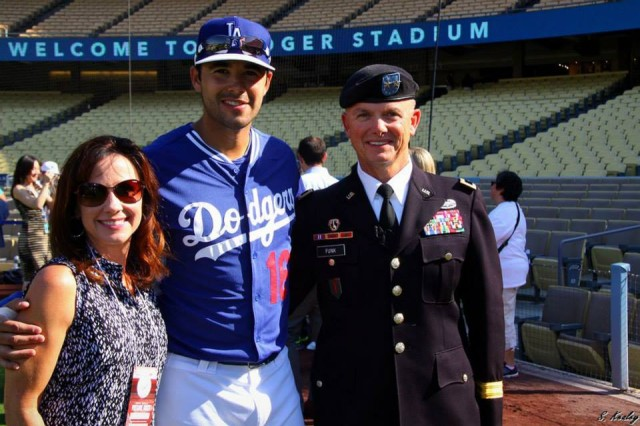 Maj. Gen. Paul Funk, 1st Infantry Divison commander, catches up with Dodgers' Right Fielder Andre Ethier July 1 at Dodgers Stadium.