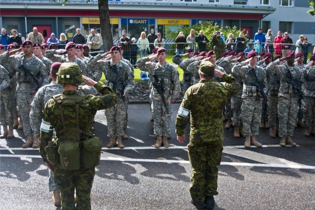 U.S. paratroopers march in Estonian Victory Day parade