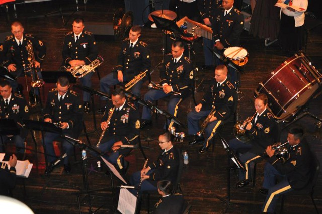 Soldiers with Fort Jackson's 282nd Army Band perform a concert at Dreher High School in Columbia, S.C., recently. The band is involved in 60 to 100 command outreach missions per year.