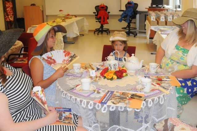 Young and old alike enjoyed the festivities at the ACS resiliency tea party at Hohenfels, recently.