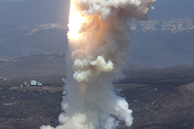 A long-range ground-based interceptor is launched June 22 from Vandenberg Air Force Base, Calif.