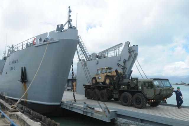 Logistic Support Vessel-2, the U.S. Army Vessel CW3 Harold A. Clinger, got underway from its home port July 2, 2014, to conduct the first of eight surface lifts between Kaneohe Bay and Kawaihae Harbor, Hawaii, in support of the 3rd Marine Regiment as part of the biennial Rim of the Pacific 2014 exercise. LSV-2 will also partner with 25th Infantry Division's 25th Combat Aviation Brigade, for casualty evacuation operations and a shipboard aerial resupply with the New Zealand Navy, and conduct Logistics over the Shore operations during RIMPAC 2014.