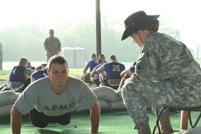 Reserve drill sergeants administer Army Physical Fitness Test for cadets