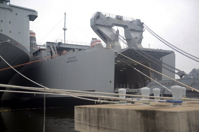 The MV Cape Ray is seen here in Portsmouth, Va., in January, before departing for the Mediterranean on a mission to neutralize chemical weapons from Syria. Many of the chemical specialists onboard the Cape Ray are from the U.S. Army's Edgewood Chemical Biolgical Center, near Aberdeen, Maryland.