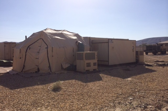 Eight CBRNE Analytical and Remediation Activity scientists tested environmental, chemical, biological and explosive samples inside the mobile laboratory during Exercise Atropian Phoenix, at Fort Irwin, Calif.