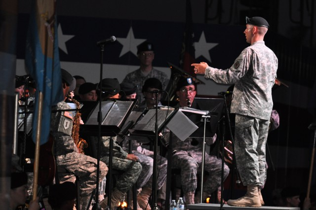 The 282nd Army Band provided the music for Fort Jackson's Torchlight Tattoo ceremony July 4, 2014, at Hilton Field.
