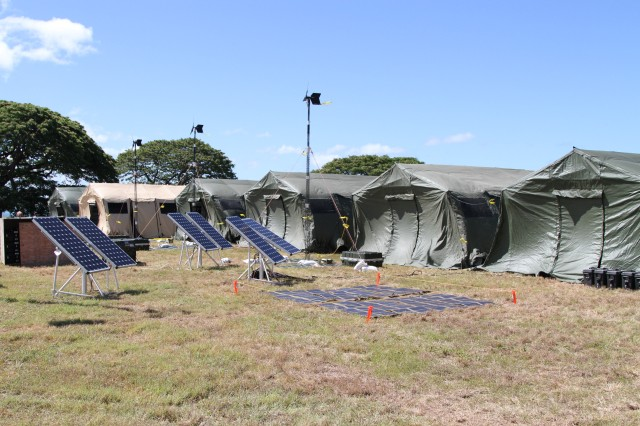 During the setup of a humanitarian aid and disaster relief event for Rim of the Pacific training exercise, wind-turbines, solar panels and solar sticks were used as a source of clean energy at Ford Island, Hawaii, July 7-11, 2014. The renewable energy sources provided more than enough energy for 350 personnel for several days of continuous 24-hour use. Twenty-two nations, more than 40 ships and submarines, about 200 aircraft and 25,000 personnel are participating in Exercise RIMPAC, from June 26 to Aug. 1, 2014, in and around the Hawaiian Islands and Southern California. The world's largest international maritime exercise, RIMPAC provides a unique training opportunity that helps participants foster and sustain the cooperative relationships that are critical to ensuring the safety of sea lanes and security on the world's oceans. RIMPAC 2014 is the 24th exercise in the series that began in 1971.