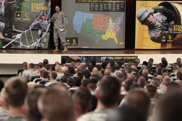 Chief of Staff of the Army Gen. Ray Odierno stresses the importance of of competence, commitment and character while addressing Army ROTC Cadets in regiments 11 and 12, who are attending the Leadership Development Assessment Course at Fort Knox, Ken.