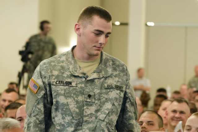Spc. Keegan Carlson is announced the enlisted winner of the 2014 Army Reserve Best Warrior Competition.
