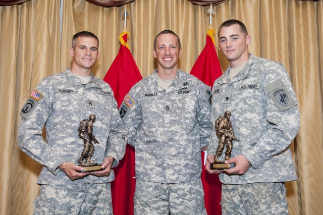 Sgt. 1st Class Jason Manella, the 2013 Noncommissioned Officer of the Year, stands with the winners of the 2014 Army Reserve Best Warrior Competition: Staff Sgt. Landon Nordby, of St. James, Minn., representing the 200th Military Police Command, and Spc. Keegan Carlson, from Colorado Springs, Colo., representing the U.S. Army Civil Affairs Psychological Operations Command (Airborne) at Joint Base McGuire-Dix-Lakehurst, N.J., June 27. The competition had two winning categories: noncommissioned officer and junior enlisted. (U.S. Army photo by Sgt. 1st Class Michel Sauret)