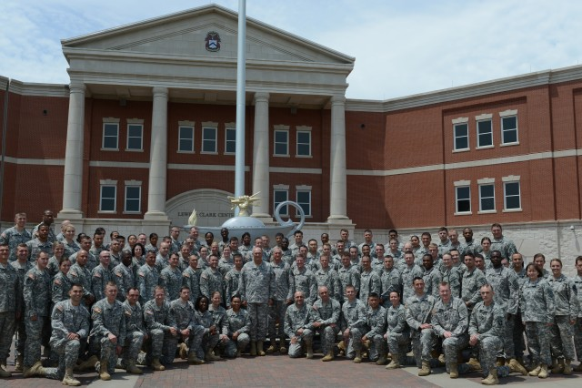 Chief of Staff of the Army Gen. Ray Odierno and more than 100 captains pose for a photo at the Lewis and Clark Center on Fort Leavenworth, Kan., July 11, 2014, following the conclusion of Solarium 2014.