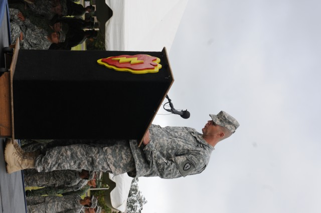 Brig. Gen. Todd B. McCaffrey, deputy commanding general-operations, 25th Infantry Division, officially announces the beginning of Tiger Balm 2014, during his opening ceremony speech at Weyand Field, Schofield Barracks, Hawaii, July 14, 2014, marking the official start of Tiger Balm 2014.