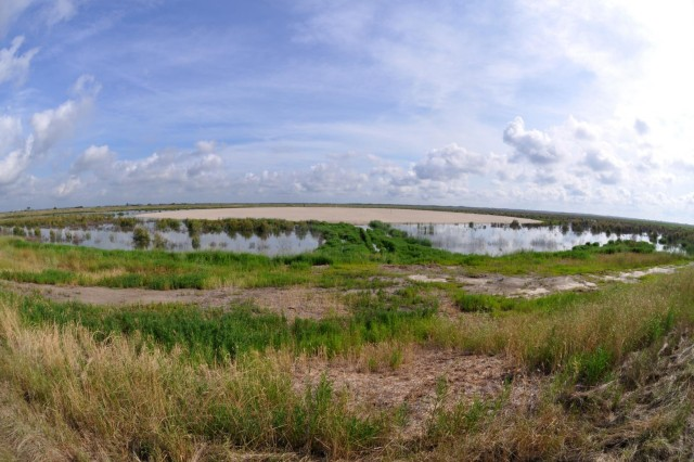 "A ""fish-eye"" view of the newly-constructed 8-acre bird island at the Savannah Harbor Dredged Material Containment Area 12A, May 30, 2014. (USACE photo by Tracy Robillard)"