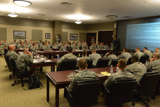 Captains from around the Army and Army Chief of Staff Gen. Ray Odierno discuss mission command at the 2014 Solarium, held July 9-11, 2014, at Fort Leavenworth, Kan.