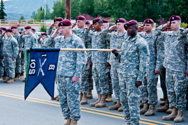 Paratroopers of the 1st Battalion (Airborne), 501st Infantry Regiment, 4th Infantry Brigade Combat Team (Airborne), 25th Infantry Division, render honors during an Honorary Command Sergeant Major Induction Ceremony at Joint Base Elmendorf-Richardson, Alaska, July 14, 2014. Command Sgt. Maj. Bernie Knight, retired, received the honorary title and serves as the link between all members in the battalion currently serving and those who have served before. (Photo by U.S. Army Sgt. Eric-James Estrada/Released)