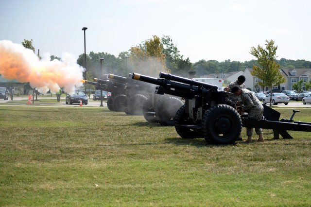 Soldiers perform a 17-gun salute, which is reserved to display respect for lieutenant generals, during an assumption of responsibility ceremony at Fort Eustis, Va., July 15, 2014. The salute was in honor of Lt. Gen. H.R. McMaster, incoming director of U.S. Army Training and Doctrine Command's Army Capabilities Integration Center. (U.S. Air Force photo by Senior Airman Teresa J.C. Aber)
