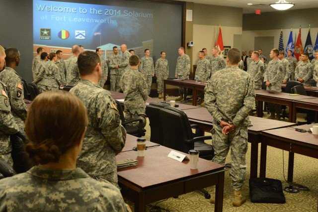 Chief of Staff of the Army Gen. Ray Odierno recognizes the talented and hard-charging captains during Solarium 2014, July 11, 2014, at the Lewis and Clark Center on Fort Leavenworth, Kan.