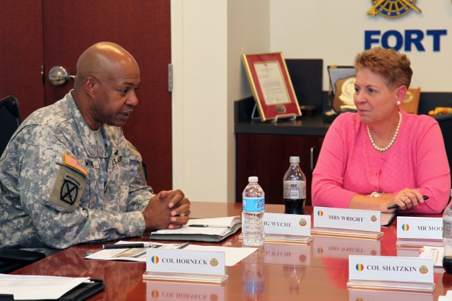 Maj. Gen. Larry D. Wyche, Combined Arms Support Command and Fort Lee commanding general, discussed the many programs Fort Lee offers to support the Soldiers and families on the post to Jessica L. Wright, Under Secretary of Defense for Personnel and Readiness, July 1. (U.S. Army photo by Keith Desbois)