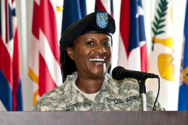 Maj. Gen. Gwen Bingham addresses the audience after she assumed command of TACOM LCMC.