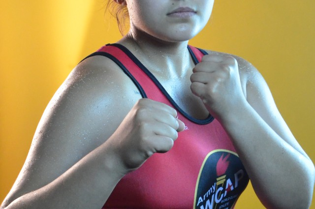Pvt. Rianna Rios of the U.S. Army World Class Athlete Program, won the 125-pound weight class at the 2014 Women's Golden Gloves National Championships, July 12, 2014, in Fort Lauderdale, Florida.