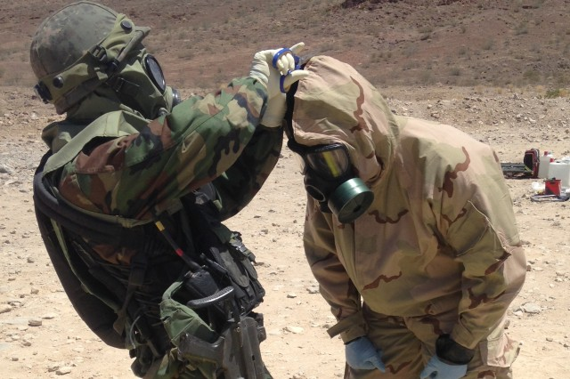 South Korean troops train with 20th CBRNE Command (chemical, biological, radiological, nuclear and explosive) personnel on Fort Irwin, California, during Exercise Atropian Phoenix.