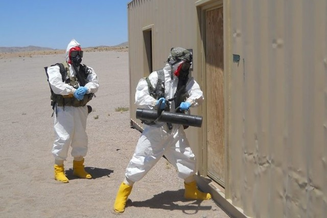 Soldiers from 20th CBRNE Command (chemical, biological, radiological, nuclear and explosive) train with the 2nd Stryker Brigade Combat Team during Exercise Atropian Phoenix.