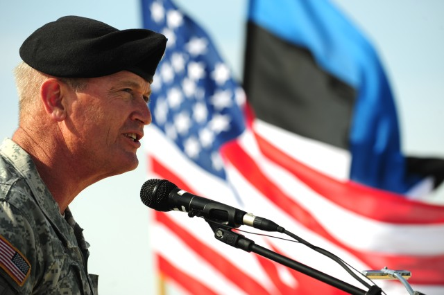 AMARI AIR FIELD, Estonia - Maj. Gen. Richard C. Longo, deputy commander of U.S. Army Europe, speaks to U.S. and Estonian Soldiers during a ceremony marking the start of land forces exercises here, April 28. The general is retiring July 22 after serving the Army for 34 years.