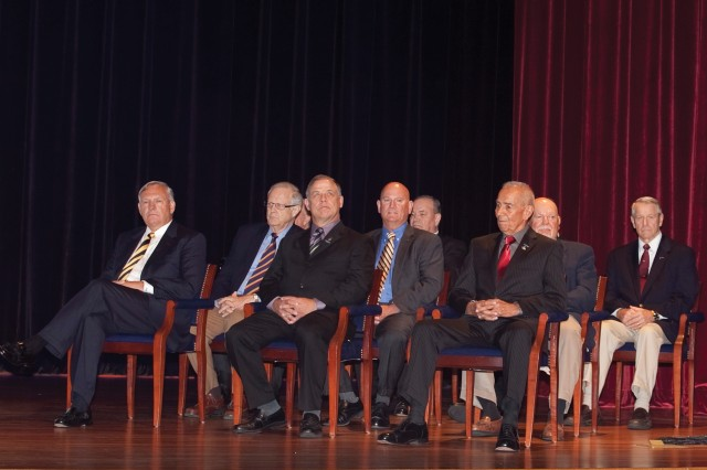 The Ranger Hall of Fame Class of 2014 sits on the stage of Marshall Auditorium prior to the July 16 induction ceremony.