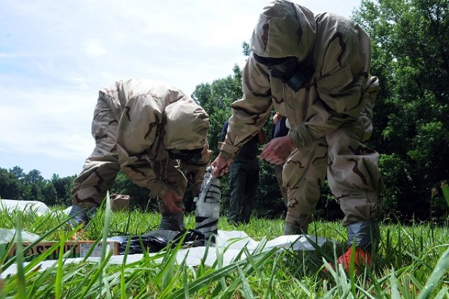 U.S. Army Explosive Ordnance Disposal technicians train at Redstone Arsenal in Huntsville, Alabama.