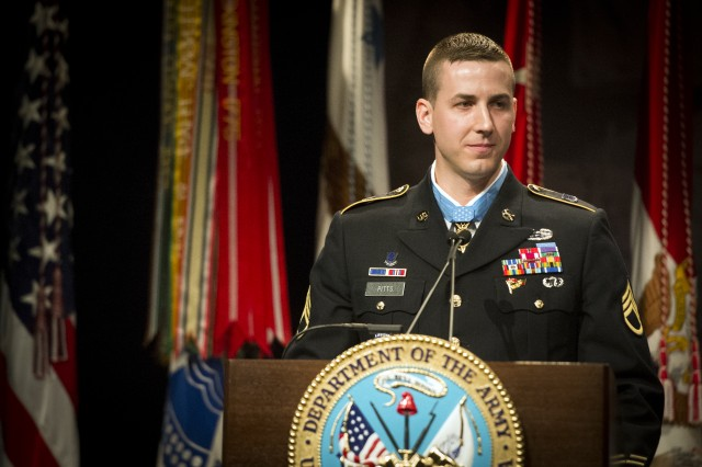 Former Staff Sgt. Ryan M. Pitts, Medal of Honor recipient, is inducted into the Hall of Heroes during a Pentagon ceremony, July 22, 2014.