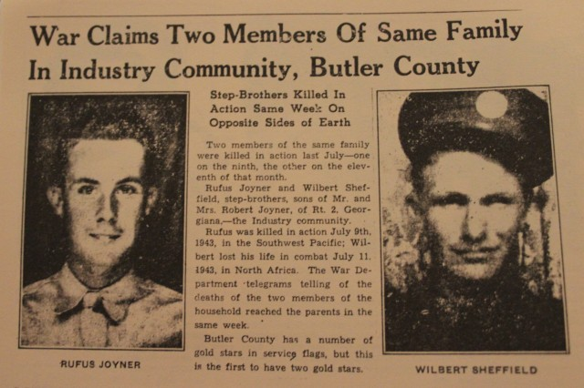An old newspaper clipping from a Butler County paper announces the death of two local sons.