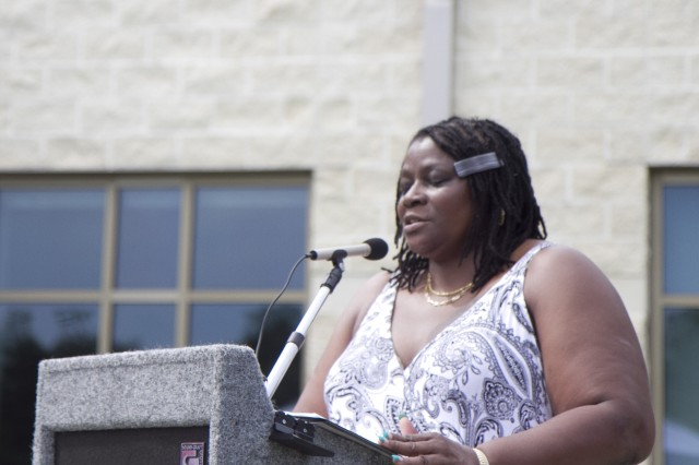 Kasinal Cashe White speaks during a memorialization ceremony renaming an Army Reserve center in honor of her brother, the late Sgt. 1st Class Alwyn C. Cashe, on July 19 in Sanford, Fla. Cashe died from injuries sustained while rescuing fellow troops from a burning vehicle in Diyala, Iraq, in 2005