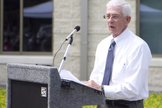Harry Conner speaks during a memorialization ceremony renaming an Army Reserve center in honor of a man he never met, the late Sgt. 1st Class Alwyn C. Cashe, on July 19 in Sanford, Fla. Cashe died from injuries sustained while rescuing fellow troops from a burning vehicle in Diyala, Iraq, in 2005. After reading the account of the hero's actions, Conner has made it his mission to champion the effort to get Cashe awarded the Medal of Honor for his actions that ultimately cost him his life. Recently, Conner rode his bicycle from Cashe's gravesite in Oviedo to the 9-11 Memorial in New York City in order to bring attention to the actions of Cashe.