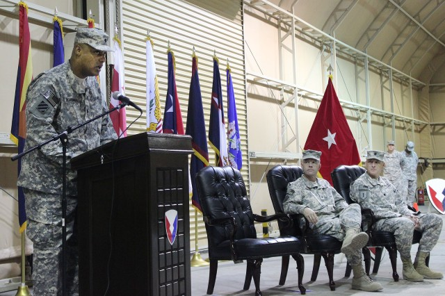Lt. Col. Earl Schonberg Jr. provides remarks during the Army Field Support Battalion -- Kuwait change of command ceremony at Camp Arifjan, Kuwait, July 2. (Photo by Sgt. 1st Class Annette Simon, 402nd AFSB Public Affairs)