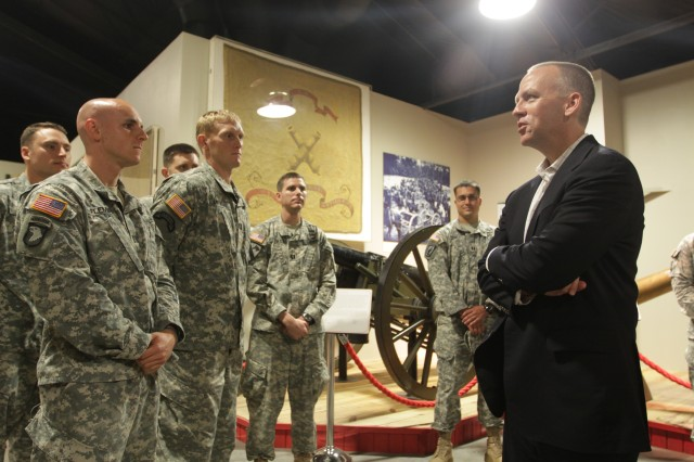 Under Secretary Brad Carson visits with Soldiers in the Field Artillery Captains Career Course at the Army Field Artillery Museum on Fort Sill, Okla., July 22, 2014.