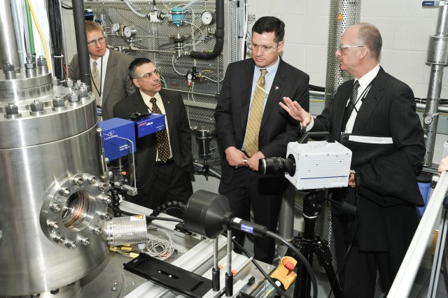 Dale Ormond, director of the U.S. Army Research, Development and Engineering Command (center), tours Army Research Laboratory facilities at Aberdeen Proving Ground, Md.