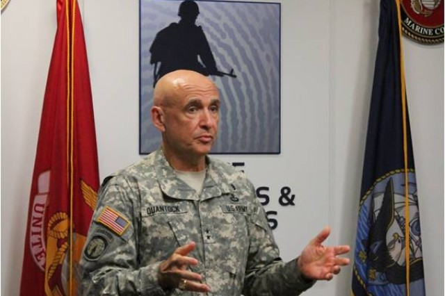 Army Provost Marshal General  Maj. Gen. David Quantock addresses the Defense Forensics and Biometrics Agency staff in Washington, D.C., July 23, 2014.
