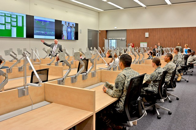 Soldiers and civilians get a look at the heart of the new Lt. Gen. Robert E. Gray Cyber Center Europe on Wiesbaden's Clay Kaserne during the opening ceremony July 22.
