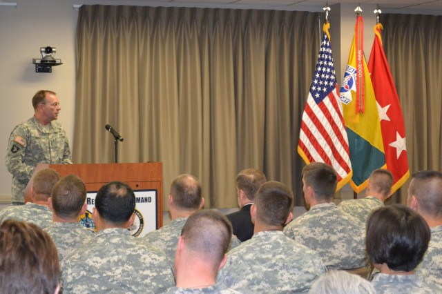 "Lt. Gen. Frederick B. ""Ben"" Hodges, Commander, North Atlantic Treaty Organization's Allied Land Command briefs U.S. Army Human Resources Command assignment officers on the LANDCOM mission and historical significance of NATO's LANDCOM at the Maude Complex, Fort Knox, Kentucky July 18, 2014"